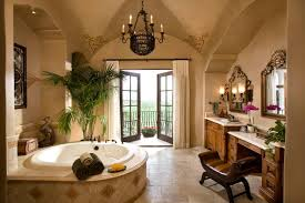 spanish colonial style home beringer fine homes master bath with a view