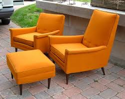 retro chair and ottoman orange vintage kroehler chair and ottoman set husband and wife