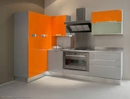 impressive modular kitchen with orange and grey arrangement idea