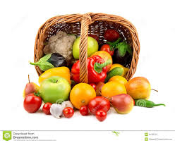 fruit and vegetable basket fruits and vegetables in a basket royalty free stock photography