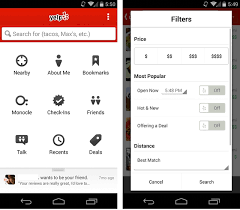 layouts for android yelp improves its android app with new search filters better