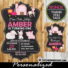 barnyard birthday invitation barn wood personalized