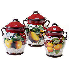 pottery canisters kitchen stoneware canister set ebay