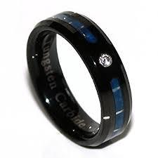 thin blue line wedding band panvisionary thin blue line tungsten carbide ring 6mm black flat