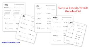 fractions decimals and percents worksheets writing large numbers