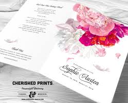 beautiful funeral programs beautiful soft peonies celebration of program for funerals