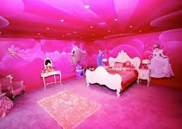 a very pink bedroom with a disney princess theme a little much