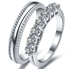 diamond couple rings images Romantic solid sterling silver couple ring synthetic diamonds jpg