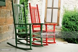 two rocking chairs on front porch stock photo getty images