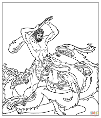 heracles fighting the hydra coloring page free printable