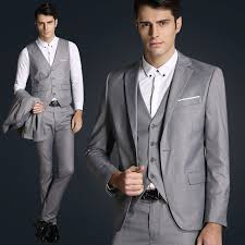 mens light gray 3 piece suit 2017 new light grey men 3 piece suits mens satin suit custom made