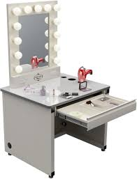 modern white tone dressing table with drawer and lights of