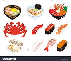 set cuisine japanese cuisine seafood set เวกเตอร สต อก 387068092