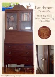Antique Desk Secretary by Vintage Mahogany Landstrom Slant Top Desk With Bookcase Top
