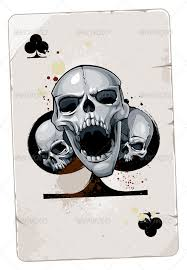 card with skulls tag and illustrations