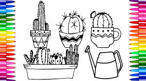 how to color cactus coloring pages kids learn drawing