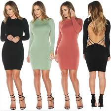 backless black bandage bodycon dress long sleeve clubwear