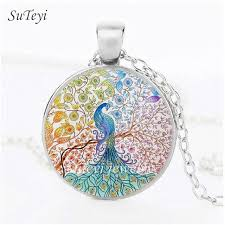 diy glass pendant necklace images Suteyi simple style peacock diy necklace tree of life round glass jpg