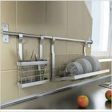 Kitchen Cabinet Plate Rack Storage Stainless Steel Kitchen Shelves Knives Drill Plate Dish Rack