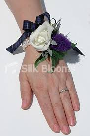 wedding wrist corsage scottish purple thistle ivory tartan wedding wrist corsage