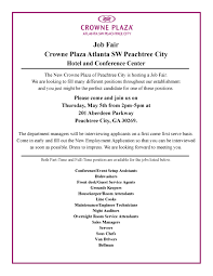 Part Time Hotel Front Desk Jobs Job Fair Crowne Plaza Ptc Fayette Visioning Initiative
