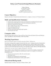 analyst resume objective general entry level resume objective