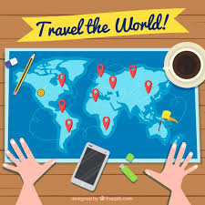 how to travel the world for free images Travel background with person looking at world map vector free jpg