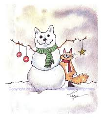 cat card cat christmas greeting card cat art snowman winter
