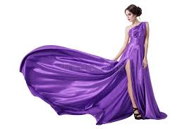 violet dress beauty woman in fluttering violet dress isolated stock image