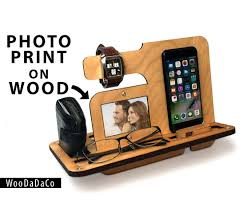 Personalized Desk Organizer by Anniversary Gift For Men Wood Organizer Docking Station