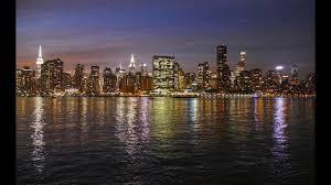 manhattan skyline and east river at night new york city