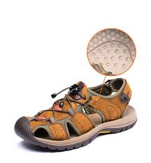 mens summer soft leather sandals outdoor beach shoes casual flip