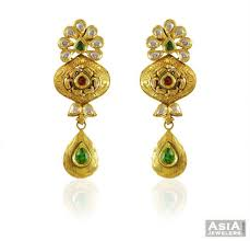 beautiful gold earrings 22k gold beautiful antique earrings ajer59038 22k gold