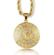 free gold necklace images Halukakah men 39 s 18k stamp real gold plated 3d quot medusa quot pendant jpg