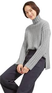 s turtleneck sweater everlane gray the wool rib oversized turtleneck sweater