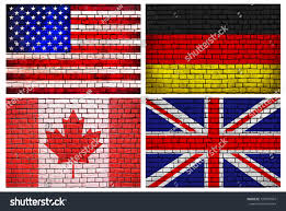 Countries Of The World Flags National Flags Brick Wall Background Different Stock Photo