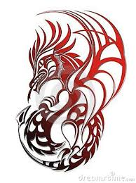 awesome red tribal dragon tattoo design dragons in red