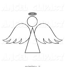 clip art of a black and white angel outline design by pams clipart