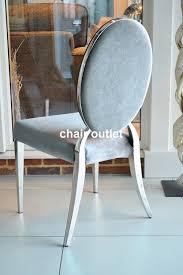 deco shabby chic oval back silver velvet luxury glamour chrome art deco shabby chic