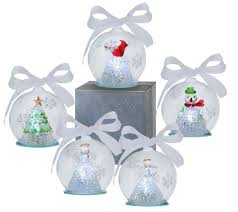 set of 5 illuminating color changing glass ornaments with gift