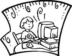 student at computer playing games coloring page preschool parts