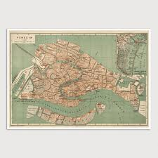 Map Of Venice Old Venice Map Art Print 1886 Antique Map Archival