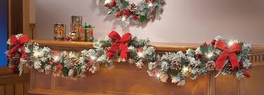 lighted frosted pine garland home kitchen