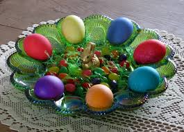glass egg plate happy easter carnival color