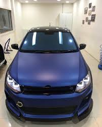 matte blue bentley vw polo with sports body kit and matte blue wrap in images