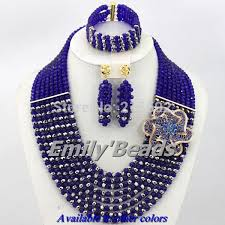beads necklace sets images 2016 latest nigerian wedding african beads jewelry set royal blue jpg