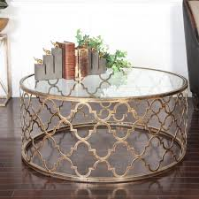 lamarr global bazaar gold quatrefoil iron coffee table kathy kuo