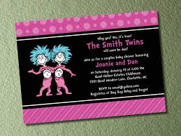 dr seuss thing 1 thing 2 twins baby shower invitations and