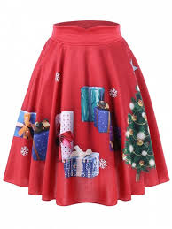 christmas plus size tree and gift print midi skirt red plus size
