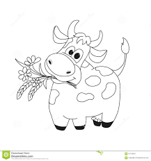 outline illustration of cute cow with flowers stock vector